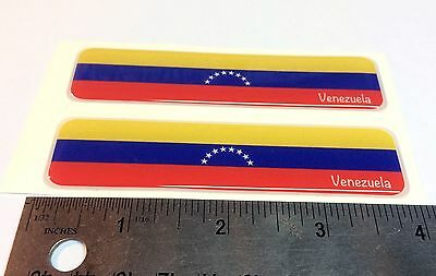 "Venezuela Proud Flag Domed Decal Emblem Car Flexible 3D 4""x1"" Set of 2 Stickers"