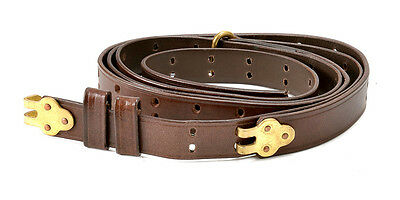 "BROWN LEATHER M1907 MILITARY RIFLE SLING M1GARAND 1903 SPRINGFIELD  1"" width"