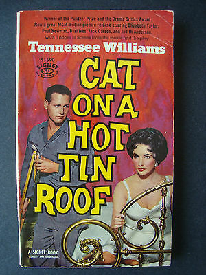 """Tennessee Williams """" Cat on a Hot Tin Roof """"  Signet  1958  1st printing."""