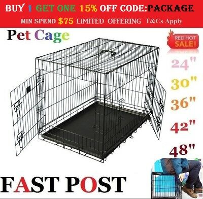 "24""/30""/36""/42""/48"" Cage Pet Dog Crate Metal Kennel Portable Puppy Cat Pets Fold"