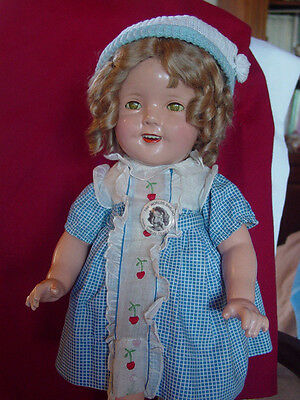 IDEAL, SHIRLEY TEMPLE, USED, COMPOSITION,DOLL IN THE FULLY-TAGGED CHERRY DRESS!