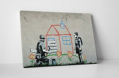 """Banksy Crayon House Foreclosure Stretched Canvas Print 30""""x20"""""""