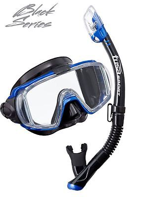 Tusa Pro Quality Mask and Snorkel Set - Side View Mask and Dry Top Snorkel BLUE