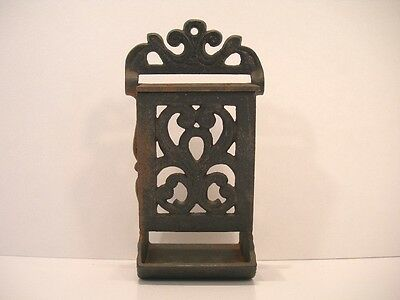 Vintage Wilton Cast Iron Match Safe Wall Hanging Black Scrolls