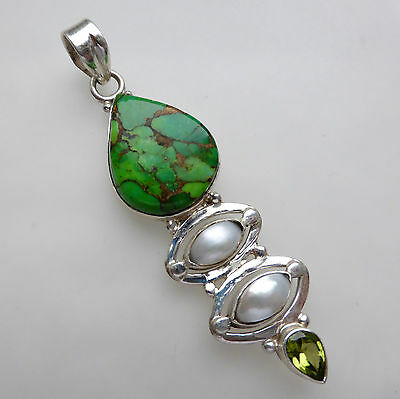 Silver Copper Green Turquoise Peridot Pearl Pendant Solid Sterling 925 Jewellery