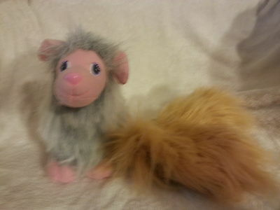 """Vintage 1991 Galoob Toys 8""""Pink Furry Bow Wow Boutique Dog Plush + Removable Fur"""