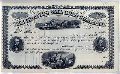 The Ironton Railroad Company Stock Certificate Pennsylvania