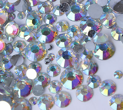 AB Iridescent Crystal Clear Aurora Borealis Rhinestones 2-5mm + Mixed Size