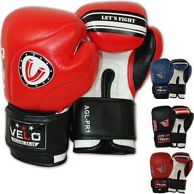 VELO Leather Gel Boxing Gloves Punch Bag Fight gym MMA Muay Thai Sparring Pads