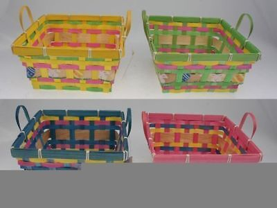 36 x Easter Woven Basket Square Printed 4 ast mix Garden Egg Hunt Wholesale Lot