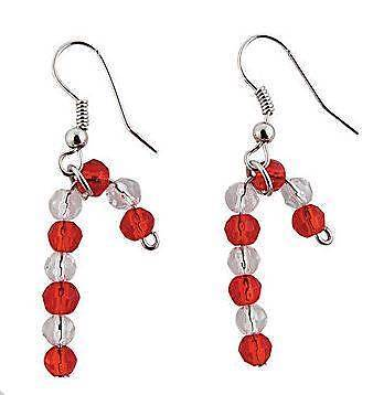 1 set of Candy Cane Earrings Craft Kit - Christmas - Holiday - Gift - New