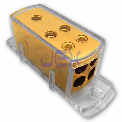 4-Way Car Audio Stereo Amp Power/Ground Cable Splitter Distribution Block 4ga