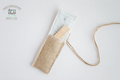 ***Set of 10 Sherpa & Burlap USB Flash Drive Pouch Holders