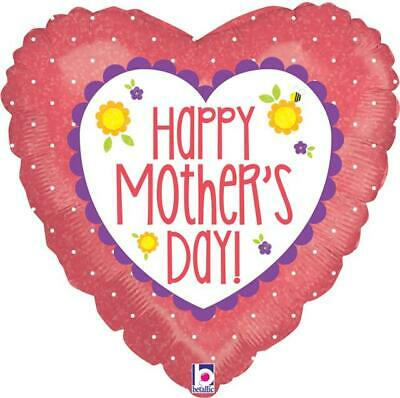 """Happy Mothers Day Coral Heart 18"""" Holographic Foil Balloon"""