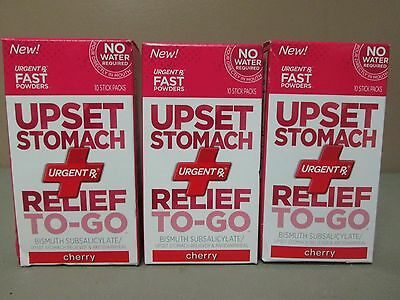 3 Urgent Rx Up Set Stomach Relief to go Cherry-30 Total Packs Exp 8/16 TM1932