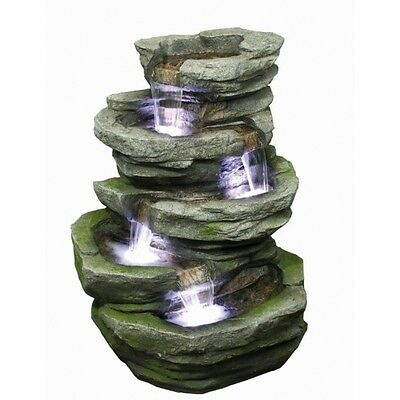 4 Fall Slate Garden Water Feature with LED Lights