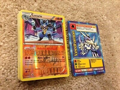 Lot of 40 Pokemon & Digimon cards MULTIPLE HOLOS INCLUDED