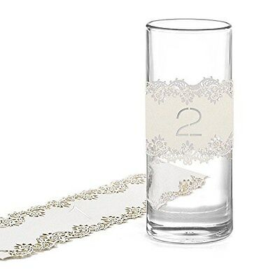 White Shimmer Laser Cut Table Number Wraps 1-10