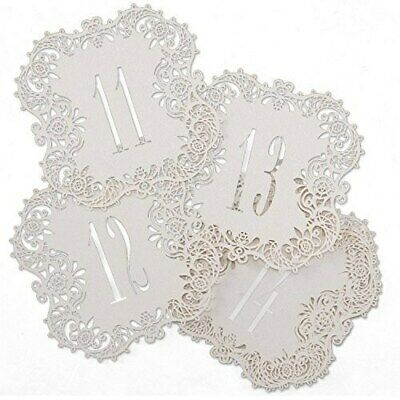 White Shimmer Laser Cut Table Number Cards 11-20