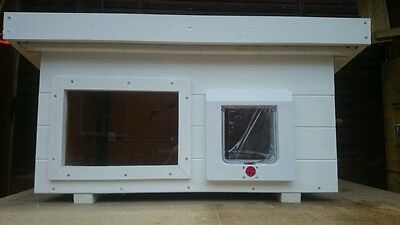 LARGE White Outdoor cat shelter,kennel,house with cat flap and optional window.