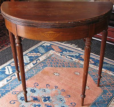 Grand Rapids ROUND FLIP TOP GATE LEG GAME/CARD TABLE INLAYS/MAHOGANY *Pick-Up