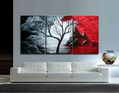3PIECES MODERN ABSTRACT HUGE WALL ART OIL PAINTING ON/ CANVAS +framed