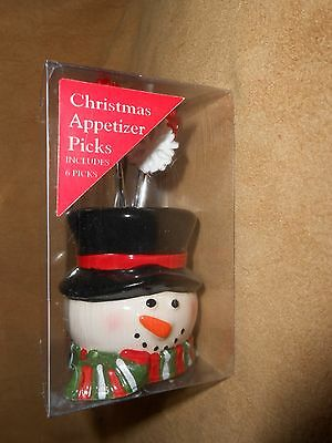 (NEW) Holiday Christmas 6 Appetizer Picks in Snowman Holder   ccl