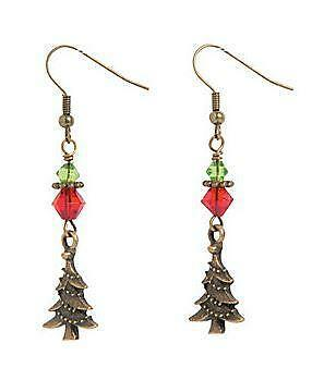 1 set of Copper Tone Christmas Tree Earrings Craft Kit - Christmas - Holiday