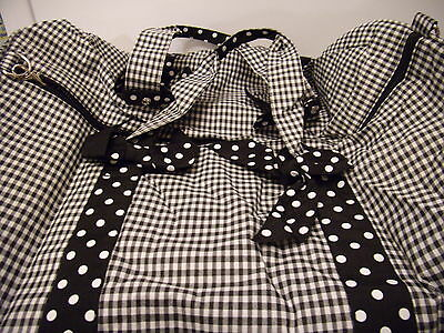 Ladies Black & White  Checkerd Pattern Clothes Bag And Matching Duffel Bag