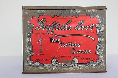 Griffiths Bros tea tin cocoa coffee old rustic collectable embossed lid red
