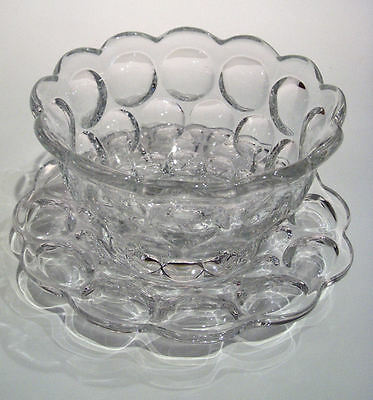 "VINTAGE  HEISEY CRYSTAL ""PROVINCIAL or WHIRPOOL"" MAYONNAISE BOWL & UNDER PLATE"