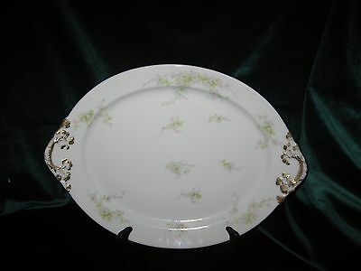 Wm GUERIN & Co-LIMOGES FRANCE-SMALL PLATTER w/WHITE&PINK DAISIES-GORGEOUS
