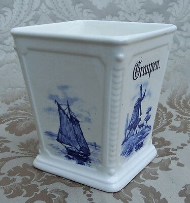 VINTAGE BLUE AND WHITE HOLLAND WINDMILL VASE PLANTER KITCHEN BARLEY CONTAINER