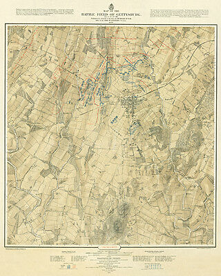 Battle of Gettysburg 1876 Vintage Map Archival Quality Reproduction Print