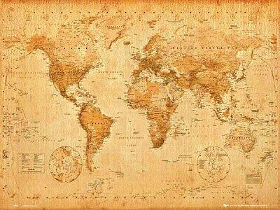 ANTIQUE WORLD MAP Poster  - Medium Size 16x20 ~ Latest Edition Vintage Style Map