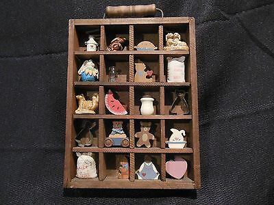 Collection of 20 Miniatures W/ 2 Wade England Figurines & 1 Display Wall Unit
