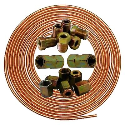brake pipe copper line 25ft joiner male female nuts ends tubing joint kit Metric