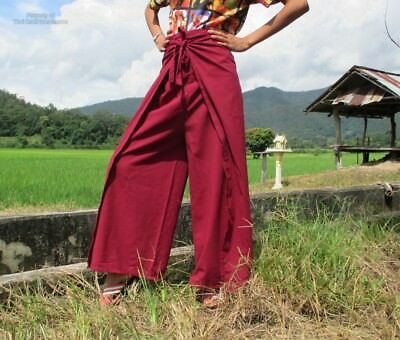 Aum Drive In Wrap Pants Comfortable Every Day Style Burgundy Red sz L