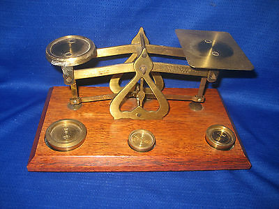 VINTAGE POST OFFICE LETTER BRASS SCALES  WOOD BASE WITH  WEIGHTS