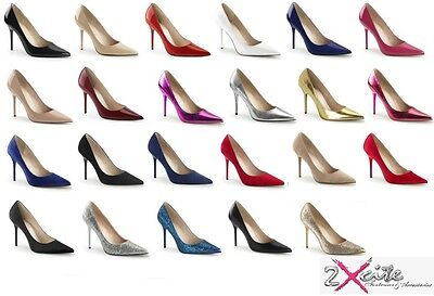 """Pleaser Classique 20 4"""" Stiletto High Heel Pointed Court Shoes Sizes 3-13"""