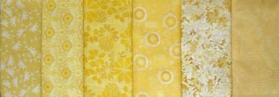 Lot of 6 Cotton Fat Quarters - Florals - All Yellows - Stash Builder