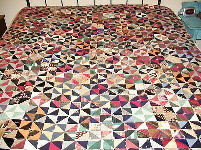 Antique Hand Stitched Patchwork Top Comforter/Quilt
