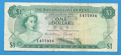 1965 Bahamas One Dollar $1 Note P18b British Territory Caribbean Islands Bill