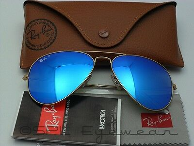 Ray Ban Aviator RB3025 112/4L Gold Frame Polarized Blue Flash Lens Size 55 mm
