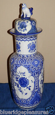 "15 1/4"" Tall Blue & White Holland (Delft) Urn"
