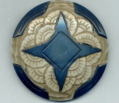 "Vintage Button...HUGE Carved Casein...Blue and Cream...2&1/16"" !!!"