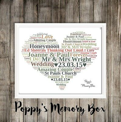 Personalised Heart Word Art Christmas Birthday Wedding Anniversary Mum Aunt Nan