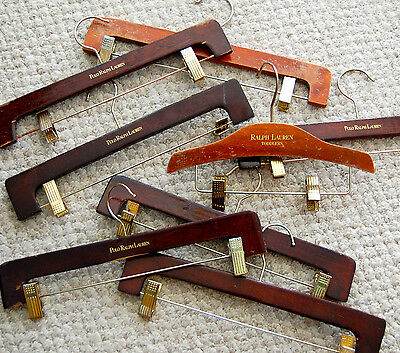 VINTAGE!  POLO RALPH LAUREN WOODEN HANGERS Pants, Skirts Clips 1 Toddler Hngr !!