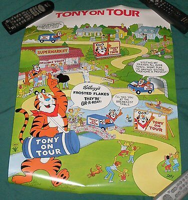 Vtg 1988 Kelloggs Frosted Flakes Tony the Tiger On Tour Poster Cereal Premium