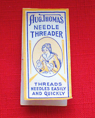 SEWING ANTIQUE AUG. THOMAS NEEDLE THREADER IN ORIGINAL PACKAGE
